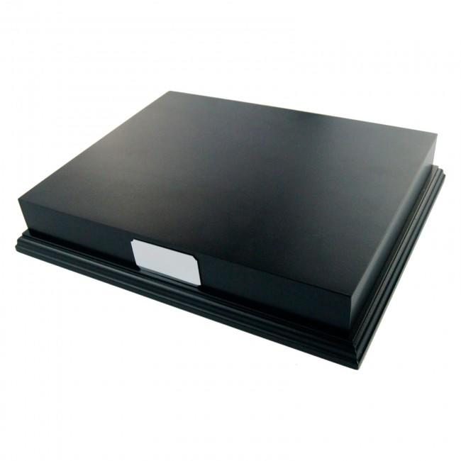 "Black Wooden Plinth Display 10x8"" & Blank Silver Plaque"