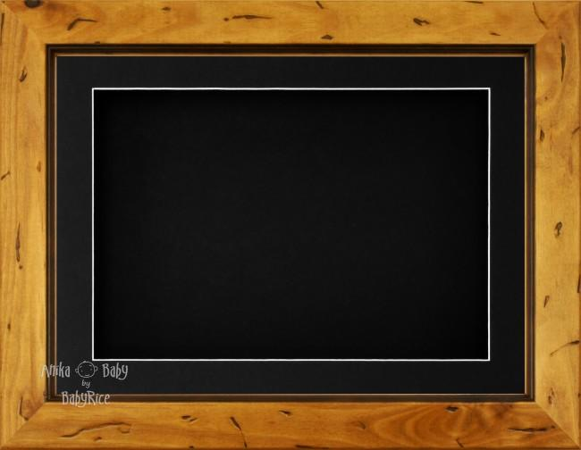 "11.5x8.5"" Rustic Pine Wood 3D Display Frame 1 Hole Black Mount Black Back"
