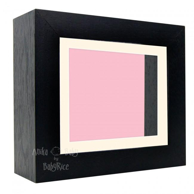 "Deluxe Black Deep Box Frame 6x5"" with Cream Mount and Pink Backing"