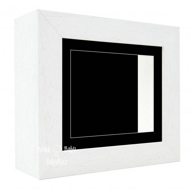 "Deluxe White Deep Box Frame 6x5"" with Black Mount and Backing"
