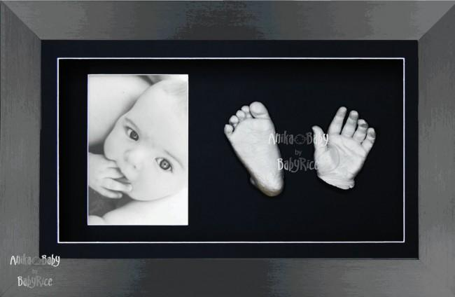 Large or Twins Baby Gift 3D Hand Foot Silver Casting, Pewter Frame