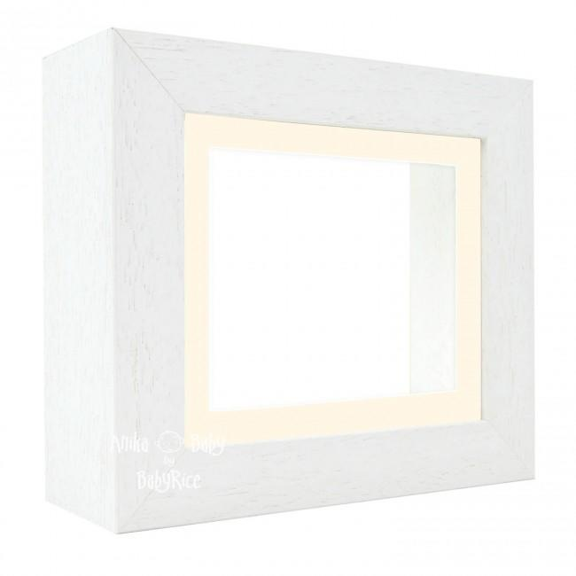 "Deluxe White Deep Box Frame 6x5"" with Cream Mount and White Backing"