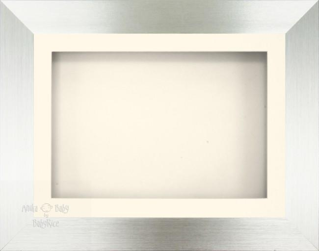 "11.5x8.5"" Brushed Silver 3D Display Frame 1 Hole Cream Mount Cream Back"