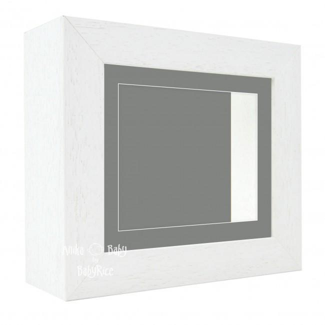 "Deluxe White Deep Box Frame 6x5"" with Grey Mount and Backing"