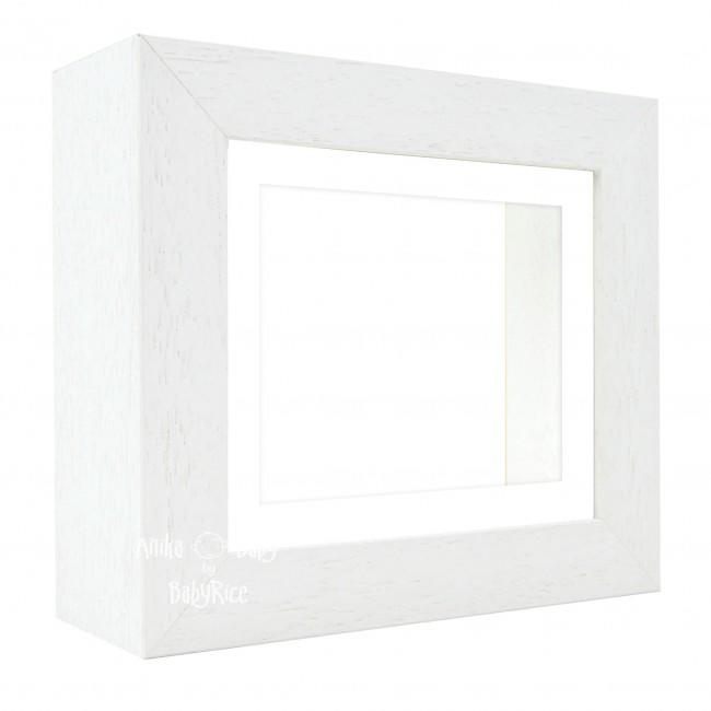 "Deluxe White Deep Box Frame 6x5"" with White Mount and White Backing"