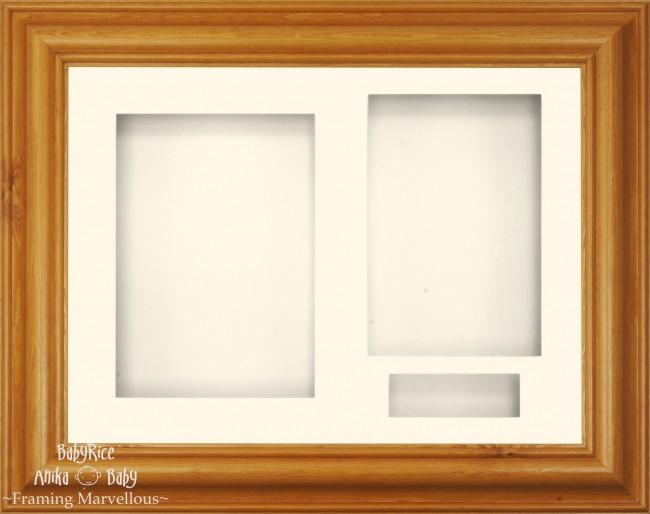 "11.5x8.5"" Honey Pine Wood 3D Display Frame 3 Hole Cream Mount Cream Back"