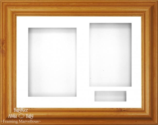 "12x9"" Honey Pine Wood 3D Display Frame 3 Hole White Mount White Back"