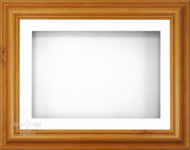 "12x9"" Honey Pine Wood 3D Display Frame 1 Hole White Mount White Back"