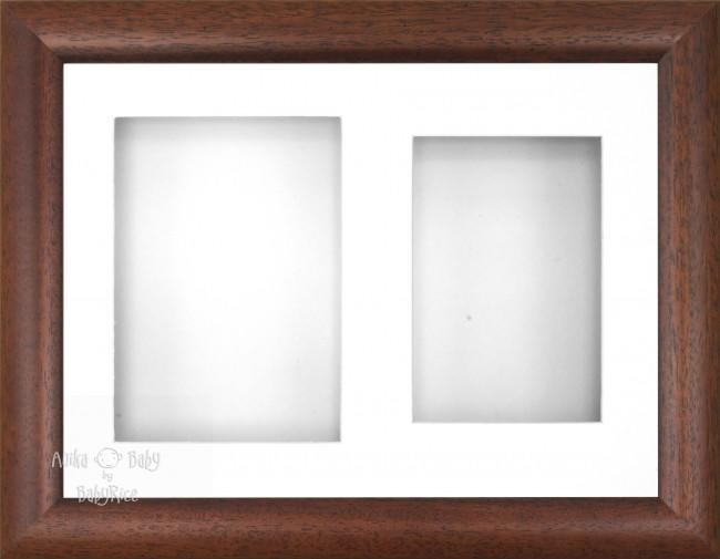 "12x9"" Dark Wood Effect 3D Display Frame 2 Hole White Mount White Back"