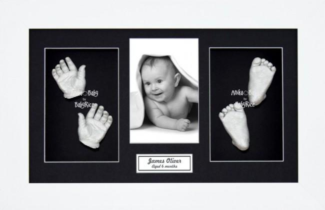 Baby Hand Foot 3D Prints Casting Kit Gift Set White Frame, Silver