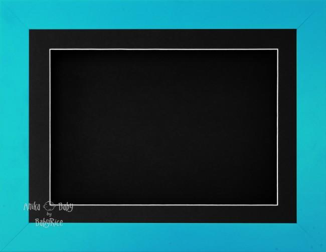 "11.5x8.5"" Blue Finish 3D Display Frame 1 Hole Black Mount Black Back"