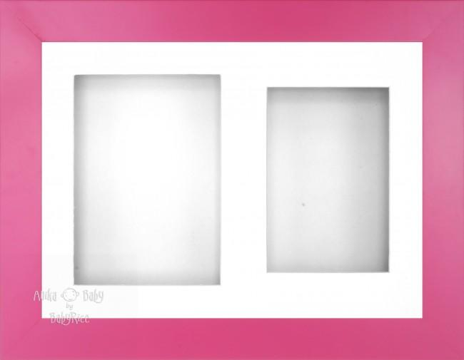 "12x9"" Pink Effect 3D Display Frame 2 Hole White Mount White Back"