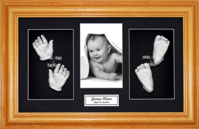 Baby Handprint Footprint Casting Kit, Honey Pine Frame, Silver Paint
