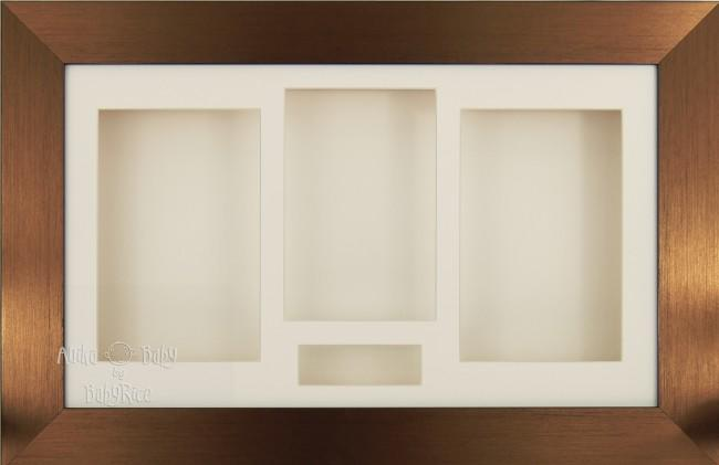 Large Brushed Bronze 3D Shadow Box Display Frame / Cream