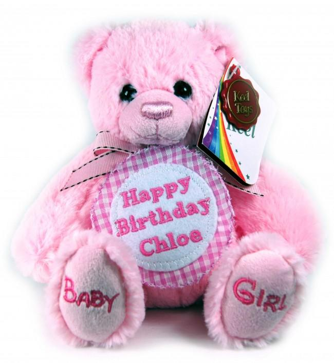 Personalised Checked Badge Pink Teddy Bear Small 18cm