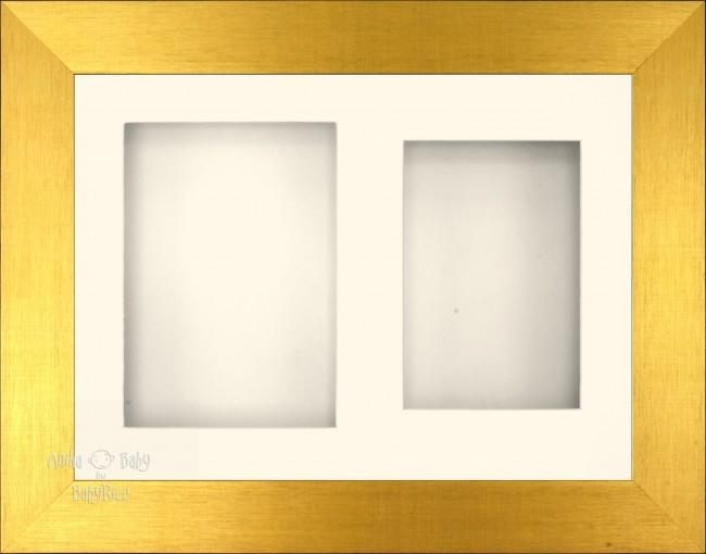 "11.5x8.5"" Brushed Gold 3D Display Frame 2 Hole Cream Mount Cream Back"
