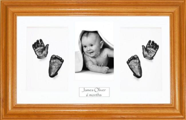 Baby Handprint Footprint Casting Kit, Honey Pine Frame, Pewter Paint