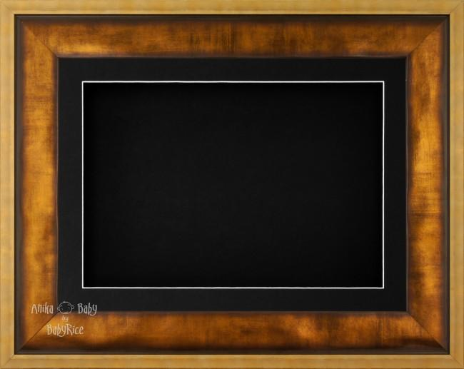 "12x9"" Urban Gold 3D Display Frame 1 Hole Black Mount Black Back"