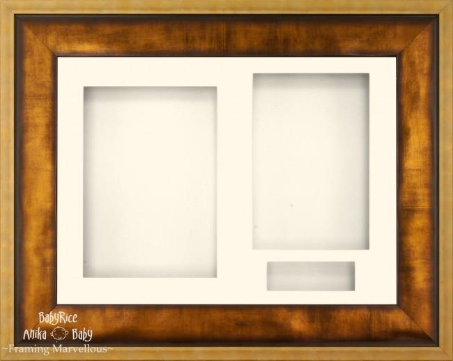 "12x9"" Urban Gold 3D Display Frame 3 Hole Cream Mount Cream Back"