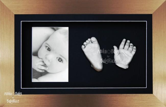 Large Baby Casting Kit / Bronze Photo Display Frame / Silver Casts