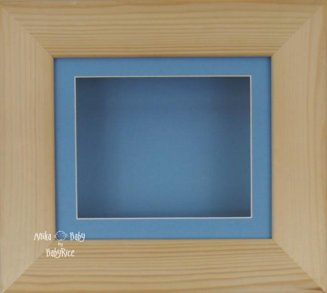 Natural Pine Small Display Frame / Blue mount & backing card