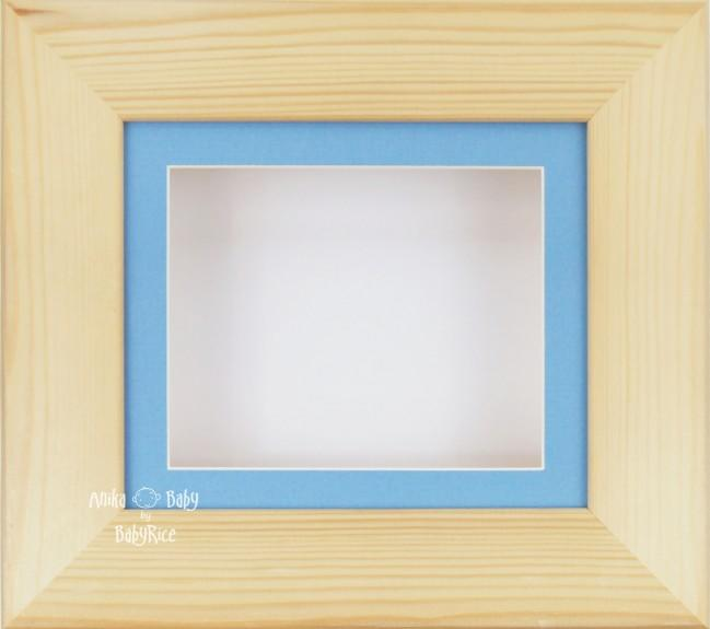 Natural Pine Small Display Frame / Blue Mount & White Backing Card