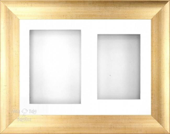 "11.5x8.5"" Antique Gold Effect Display Frame White 2 hole mount"