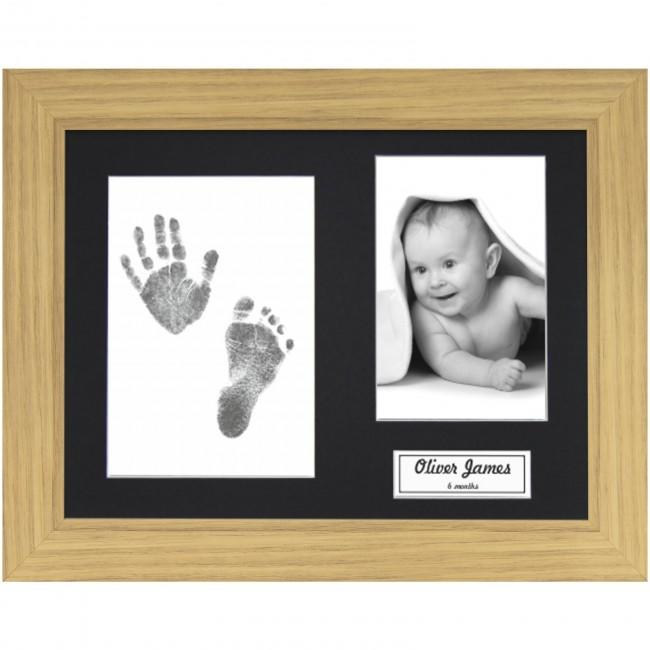 New Baby Gift Hand & Footprint Kit Oak Effect Frame / Black Inkless