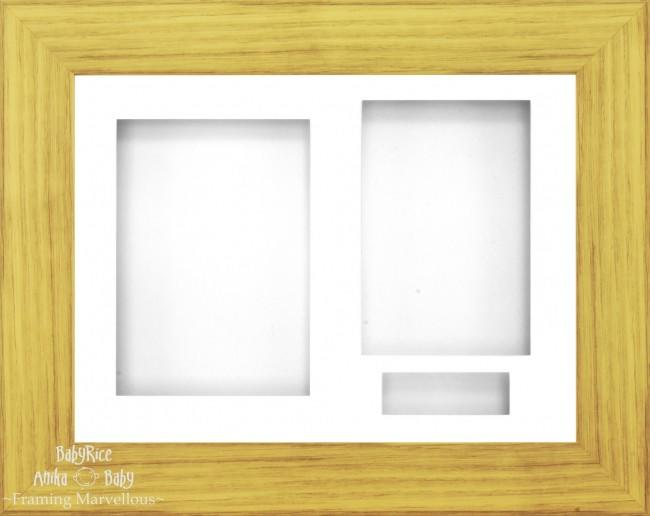 "12x9"" Oak Effect 3D Display Frame 3 Hole White Mount and Backing"
