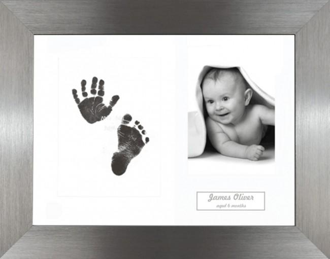 New Baby Inkless Prints, Hand & Footprint Kit, Brushed Pewter Frame
