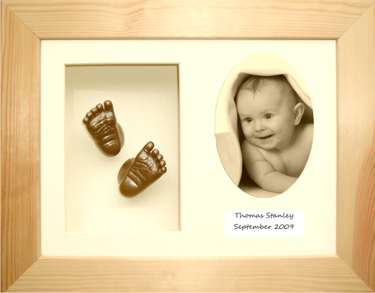 "Baby Casting Kit 11.5x8.5"" Natural Pine Frame / Cream 3-O / Bronze"