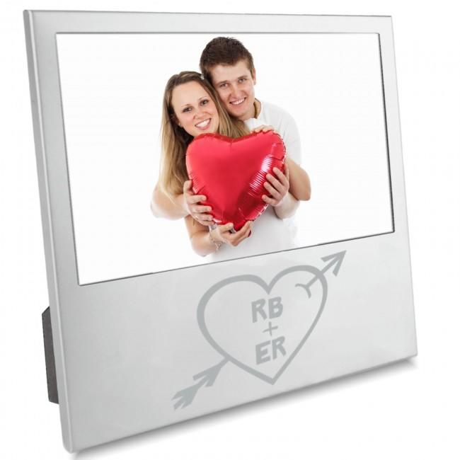 Personalised Initials Heart and Arrow Silver Photo Frame - Valentines Love Partner Husband Wife Boyfriend Girlfriend Gift