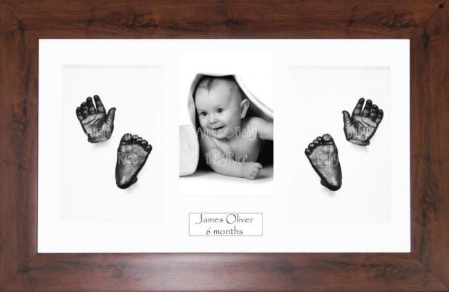 New Baby Casting Kit Gift, Mahogany effect frame, Pewter Hands Feet