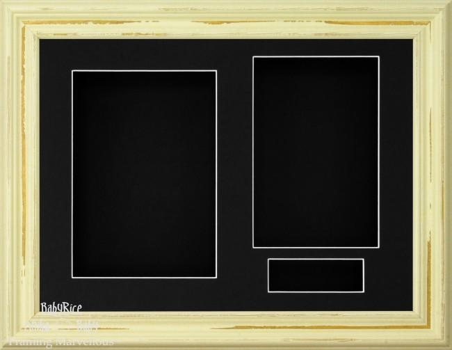 Shabby Chic effect Ivory Cream 3D Display Box Frame Black