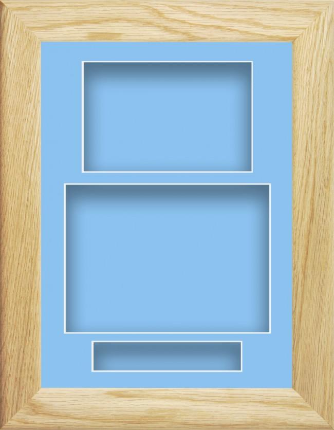 11.5x8.5 Solid Oak Wooden Deep Box Display Frame Blue Portrait