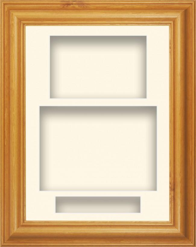 11.5x8.5 Honey Pine Wood Deep Box Display Frame Cream Portrait