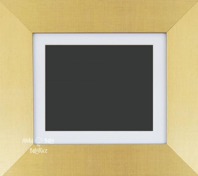 "6x5"" Brushed Gold display frame / White mount & Black Backing"