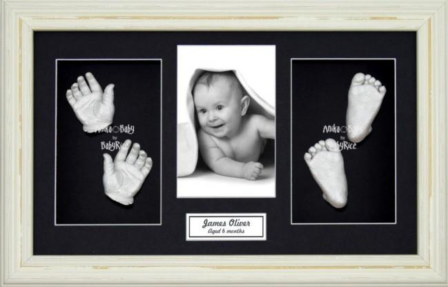 Baby Casting Kit / Shabby Chic Cream Frame / Silver Hands Feet Casts