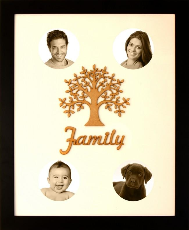 Large Family Photo Tree of Life 4 Picture Frame Black 50x40cm