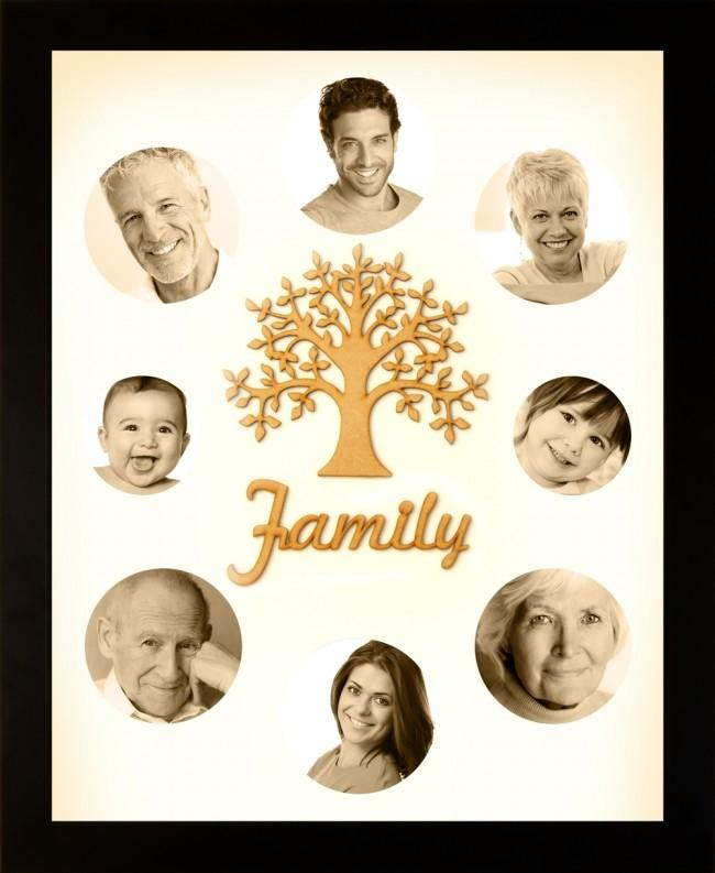 Large Family Photo Tree of Life 8 Photo Frame Black 50x40cm