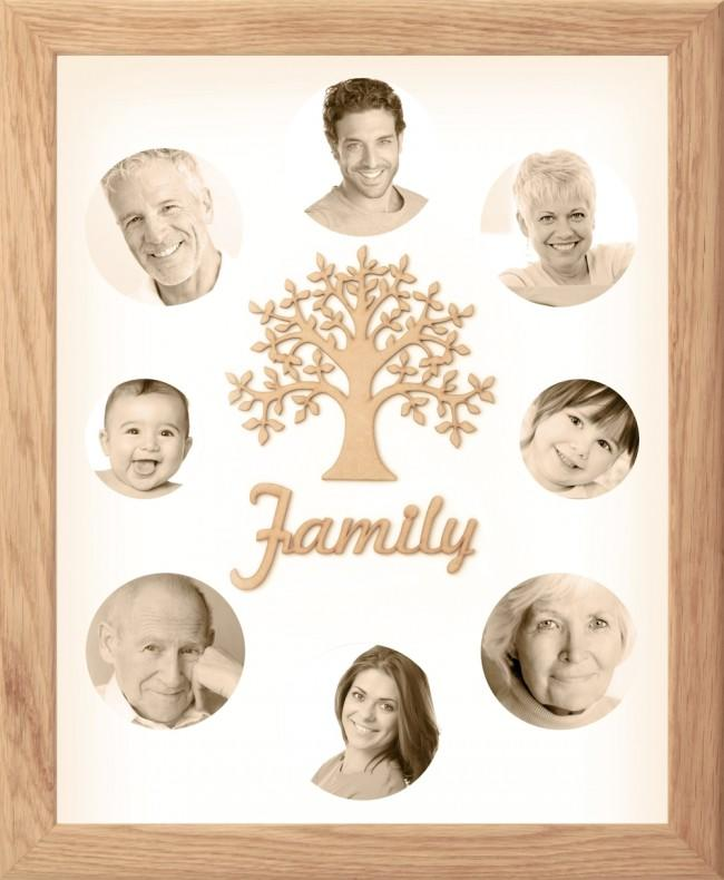 Large Family Photo Tree of Life 8 Picture Frame Solid Oak 50x40cm