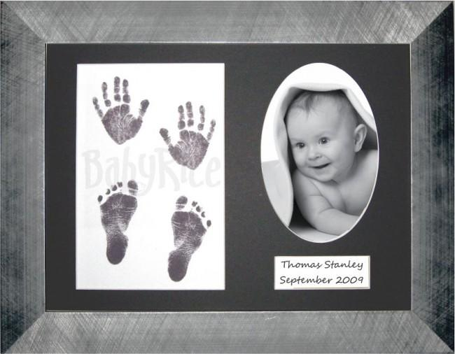 Baby Handprint Footprint Kit Inkless wipe / Pewter Frame / Black