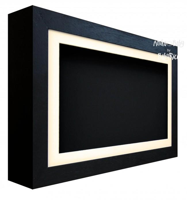 Large Deep Black Deluxe Box Frame, Cream Mount and Black Backing