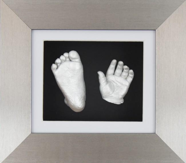 Baby Casting Kit Pewter Frame White Black Display Silver paint