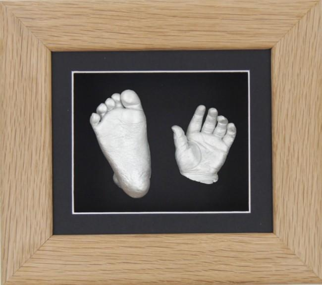 Baby Casting Kit Solid Oak Wooden Frame Black Silver Paint