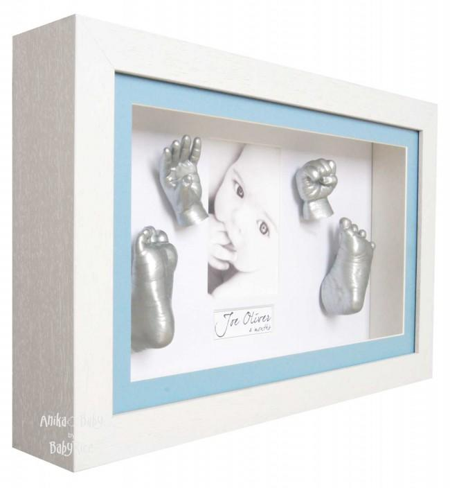Large 3D Baby Boy Casting Kit, White Deep Box Display Frame, Silver Paint