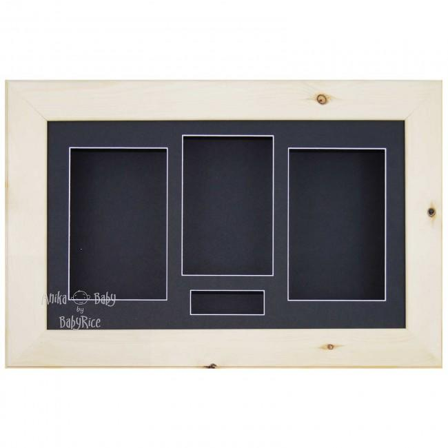 "15x9"" Wooden Shadow Box Deep Frame, Natural Pine wood, Black"