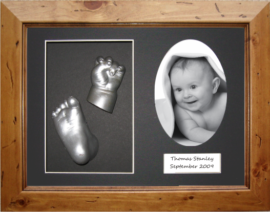 3D Baby Casting Kit, Rustic Wooden Frame, Silver