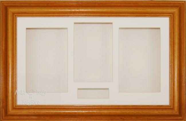 Large Honey Pine Wooden 3D Shadow Box Display Frame / Cream