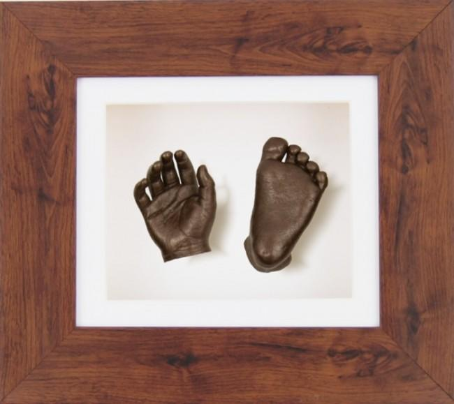 Bronze Baby Casting Kit Mahogany Dark Wood effect Frame White